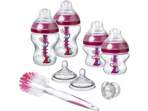 Tommee Tippee sada kojeneckých lahviček Advanced AntiColic s kartáčem a šidítkem vínová (2)