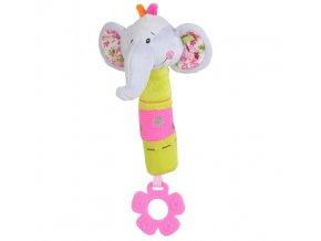 Baby Ono Plyšová hračka pískací slon s kousátkem