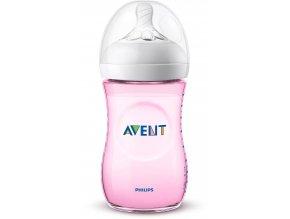 Kojenecká láhev AVENT 260ml Natural, růžová (1ks)