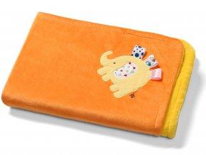 Baby Ono Dětská deka oboustranná s 3D prvky 75x100 cm oranžová Slon