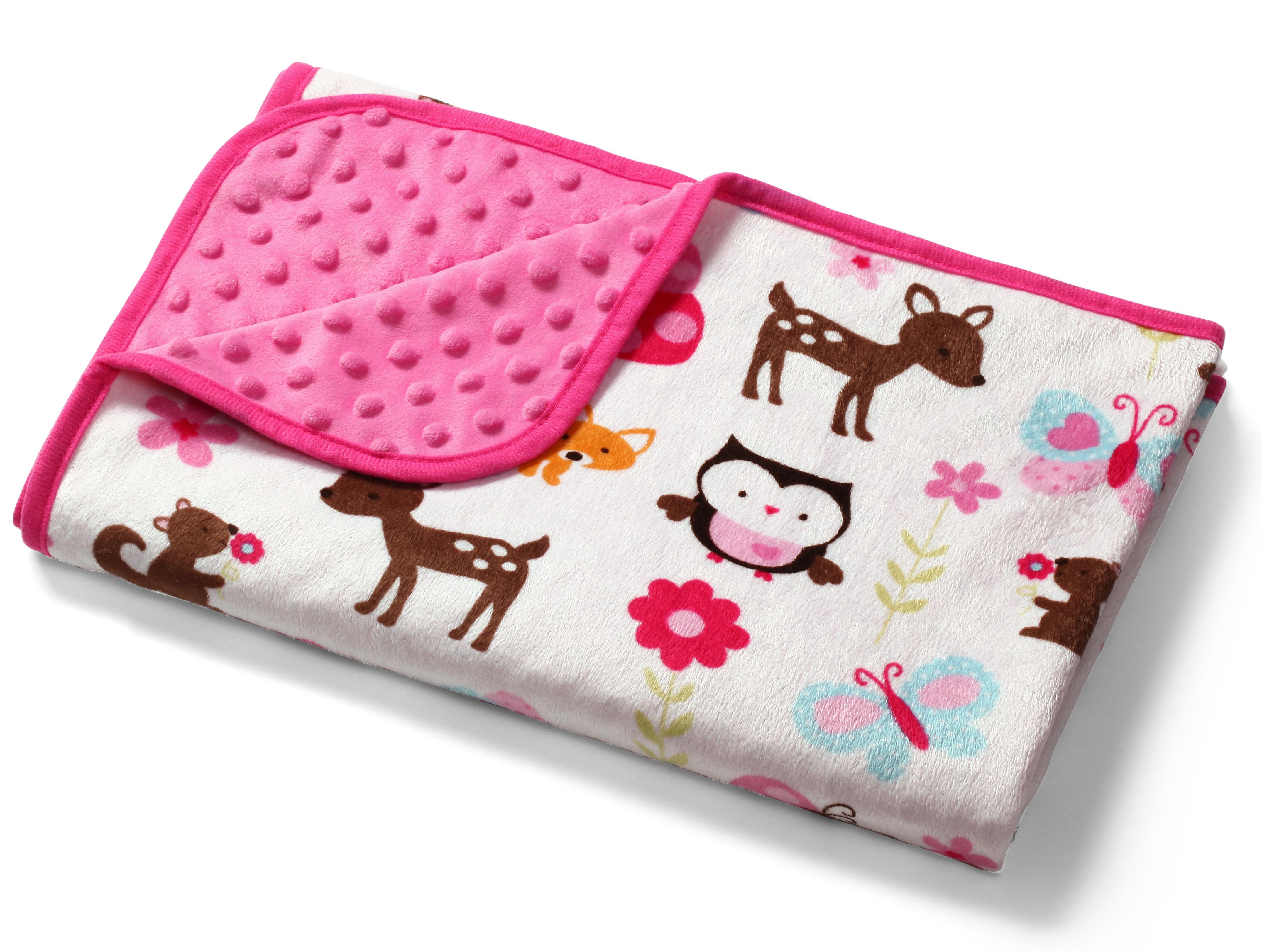Baby Ono Dětská deka Bublinky oboustranná 74x100 cm - růžová