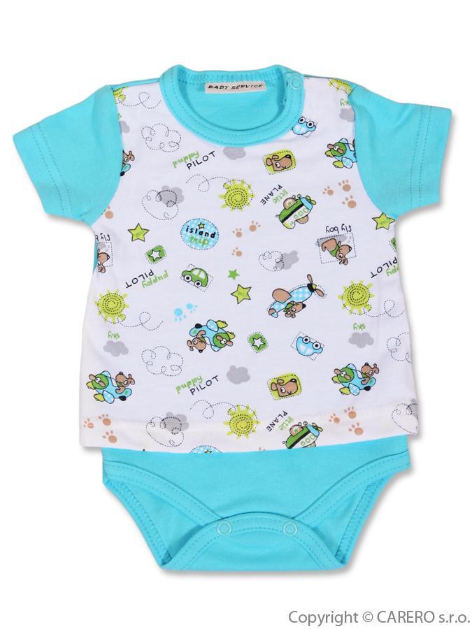 Kojenecké body Baby service Pilot modré - krátký rukáv velikost: 56