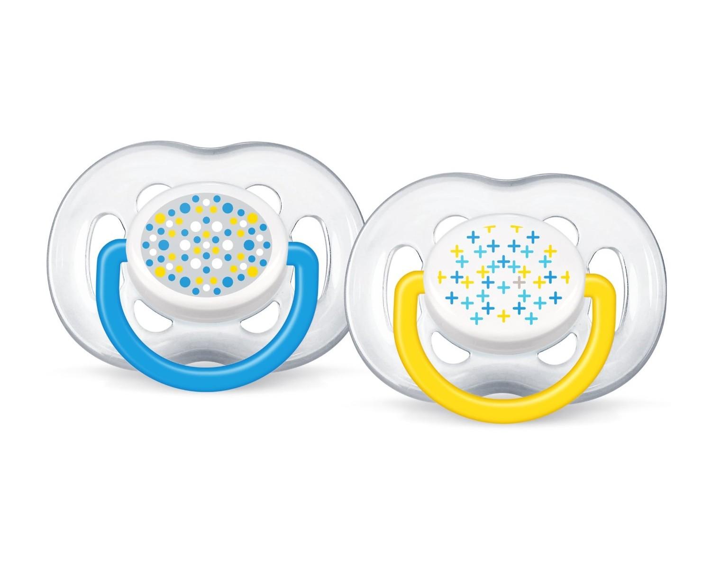 AVENT Šidítko Sensitive Fantazie 6-18m.bez BPA 2ks barva: modré a žluté