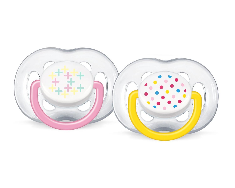 AVENT Šidítko Sensitive Fantazie 6-18m.bez BPA 2ks barva: žluté a růžové