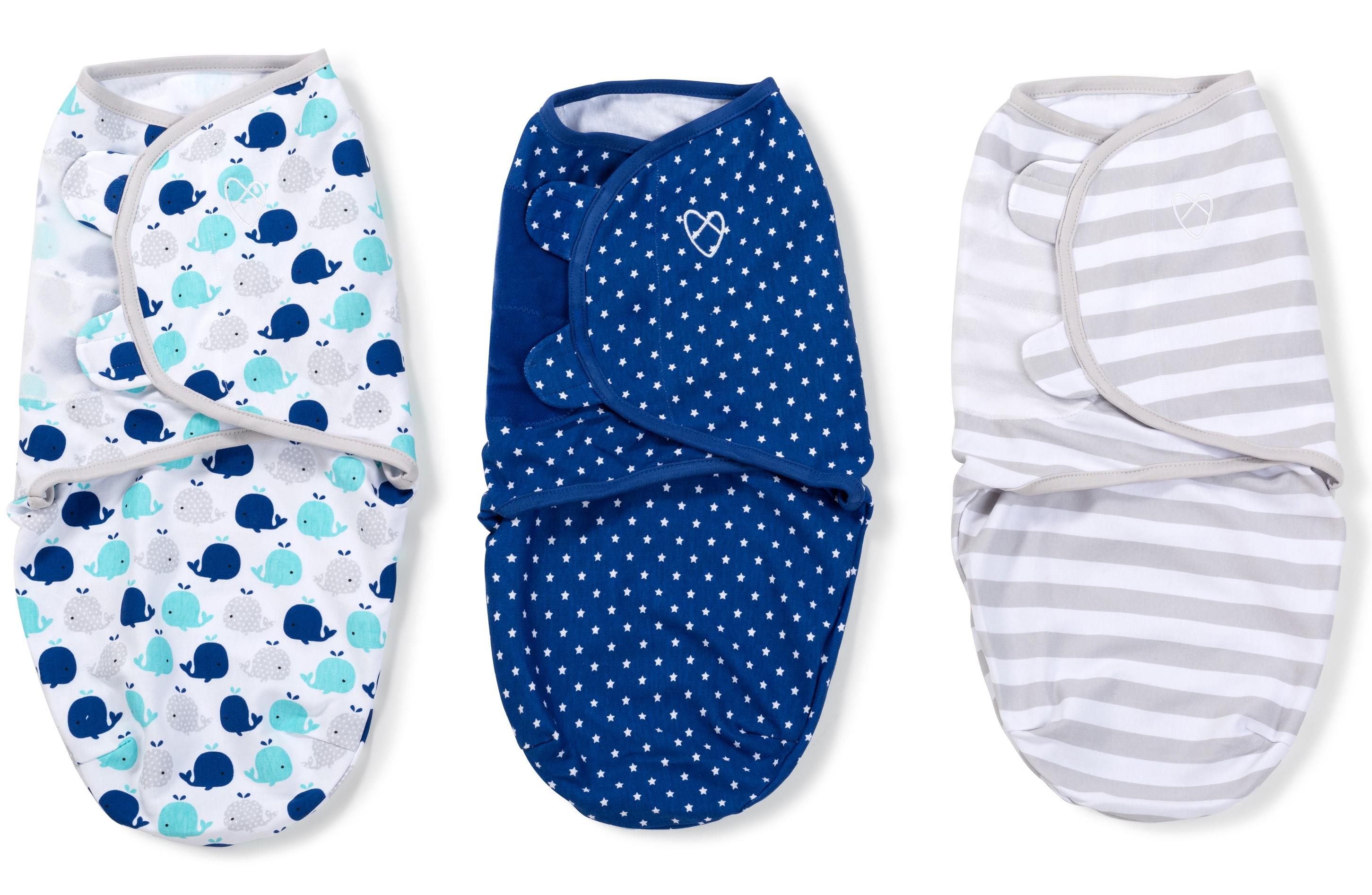 Summer Infant SwaddleMe zavinovačka sada 3ks modrá - velrybky, hvězdičky, proužky- Doprava zdarma velikost: S (3,2-6,4kg) od narození do cca 3 měsíců