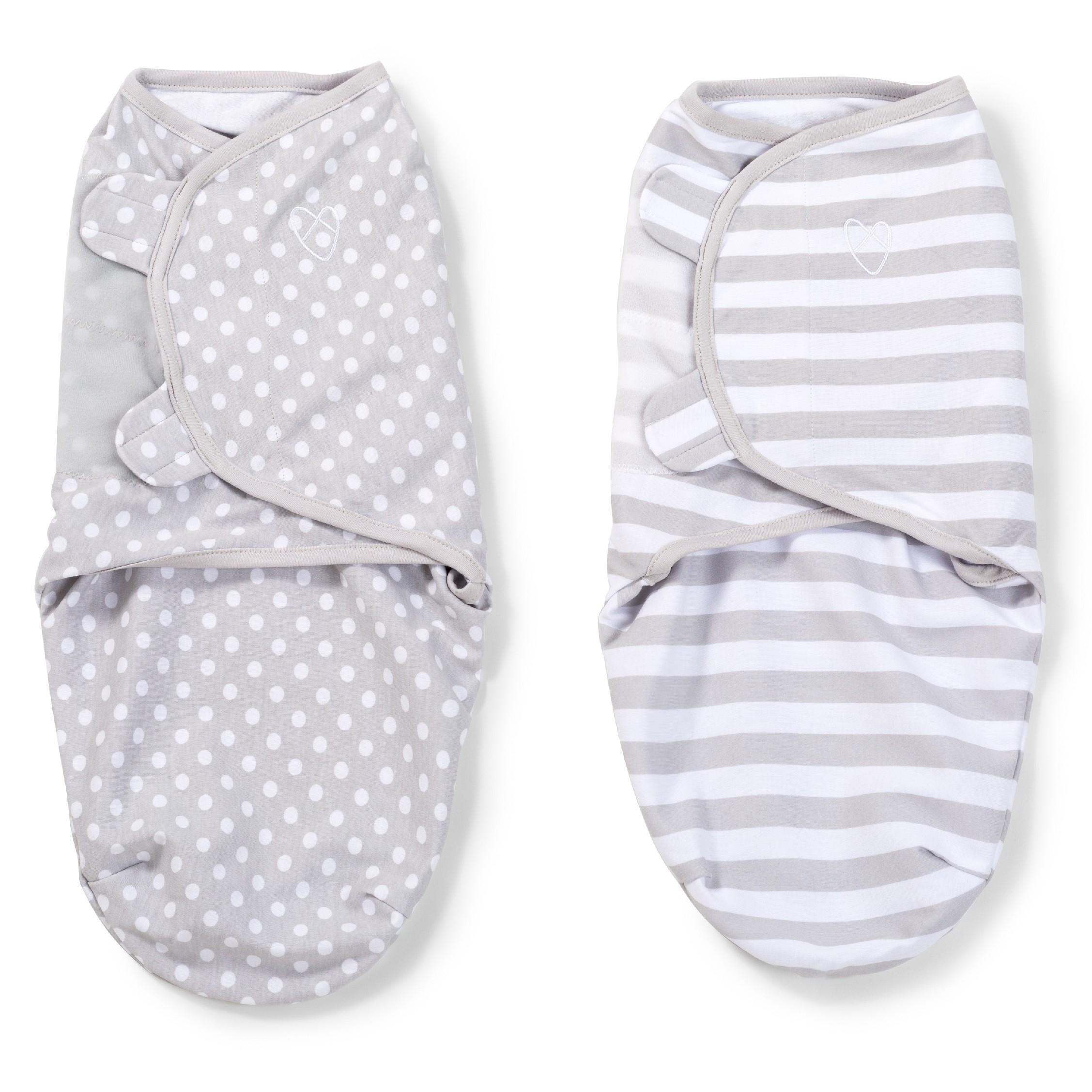 Summer Infant SwaddleMe zavinovačka 2ks šedé - puntíky/proužky - Doprava zdarma velikost: S (3,2-6,4kg) od narození do cca 3 měsíců