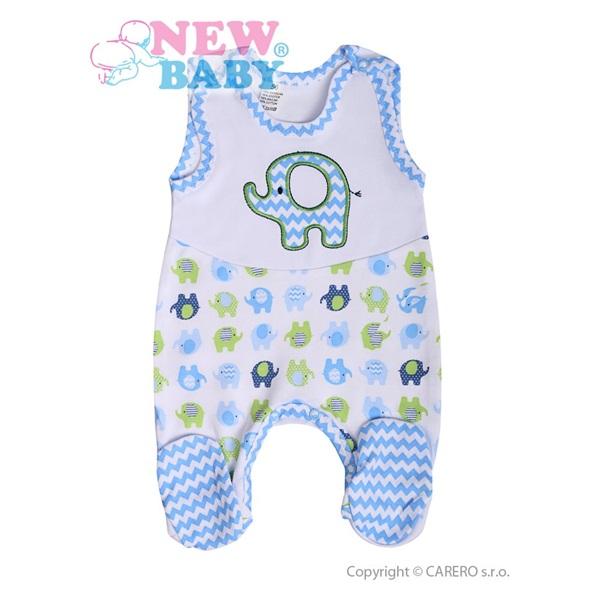 Kojenecké dupačky New Baby Sloník bílo-modré velikost: 74 (6-9m)