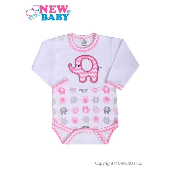 Kojenecké body s dlouhým rukávem New Baby Sloník bílo-růžové velikost  62  ... 8eecb2eaa5