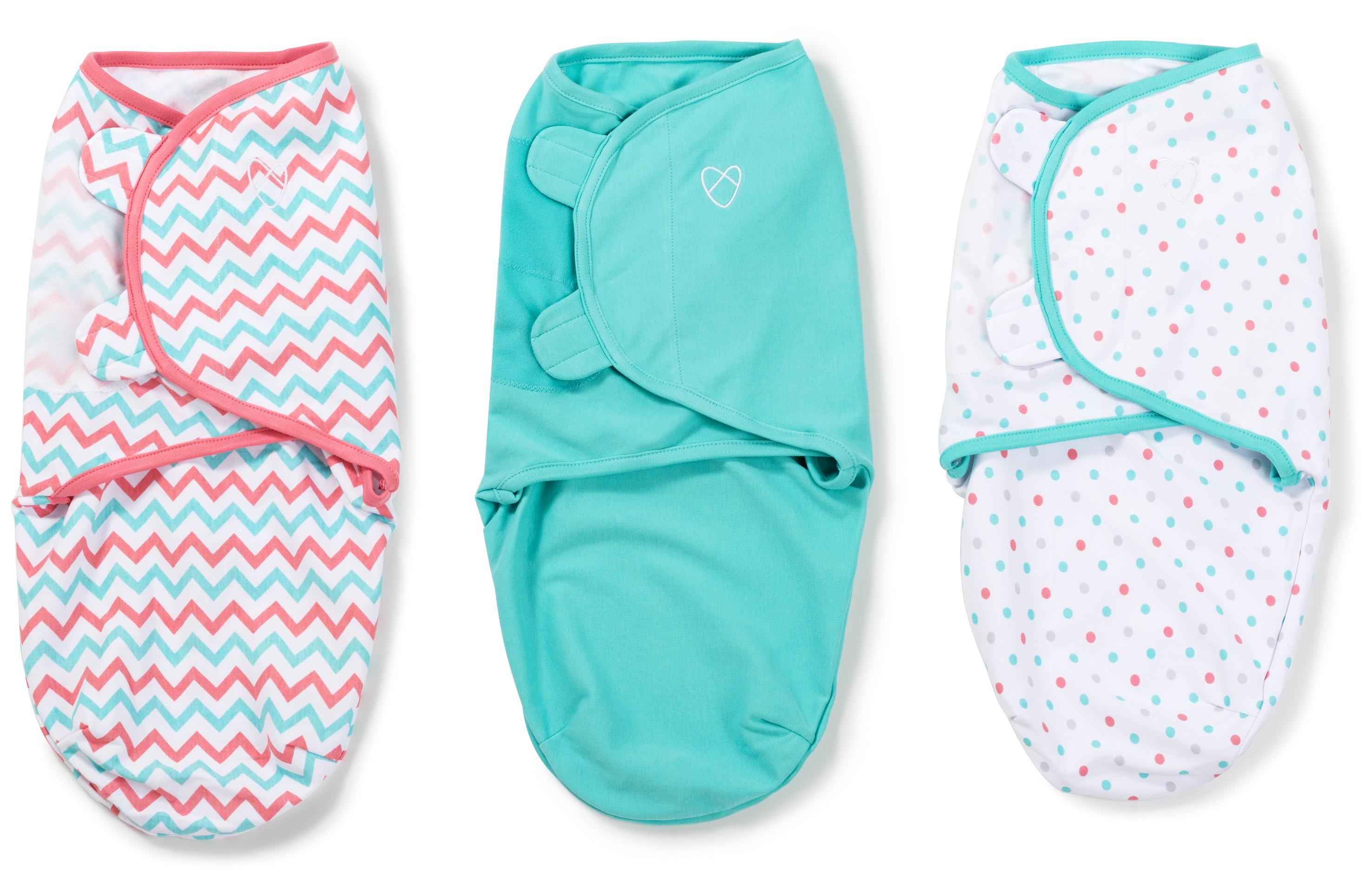 Summer Infant SwaddleMe zavinovačka sada 3ks Zig Zag, tyrkys, puntíky- Doprava zdarma velikost: S (3,2-6,4kg) od narození do cca 3 měsíců