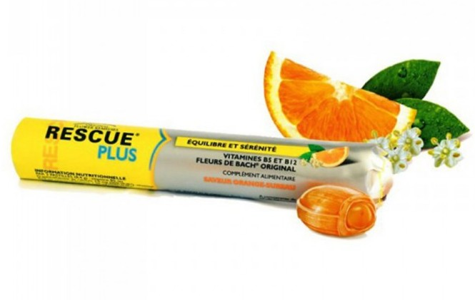 Rescue Plus bonbony 42g Bachova terapie - pomeranč-bezinka