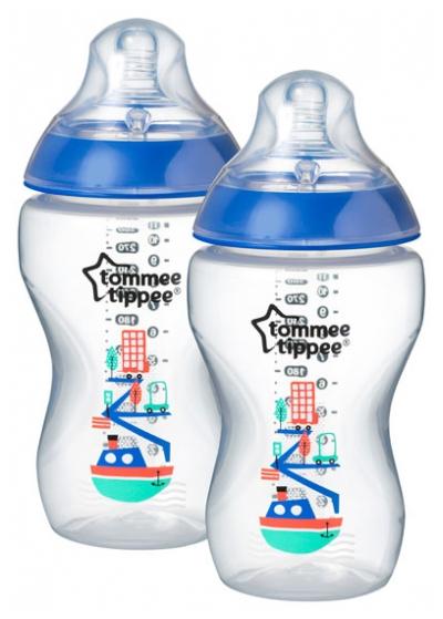 Tommee Tippee Kojenecká láhev s obrázky C2N, 2ks, 340ml, 3+m nový design barva: růžová