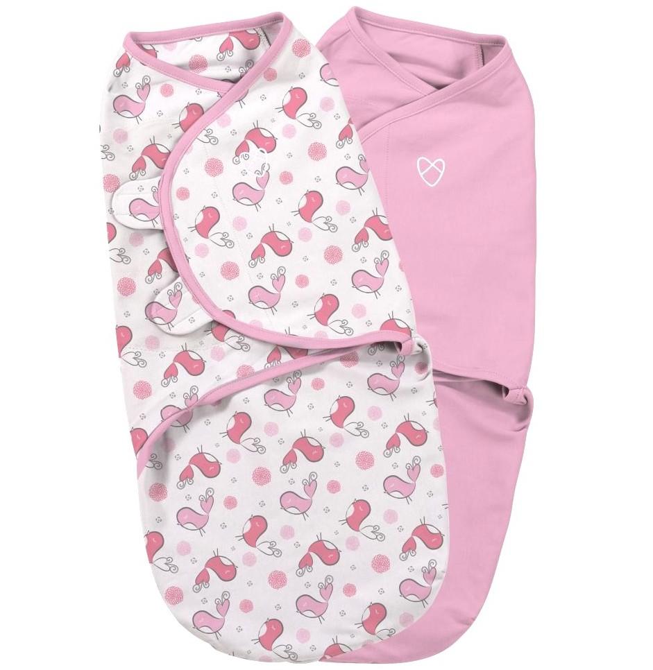 Summer Infant SwaddleMe zavinovačka 2ks růžová/ptáčci - Doprava zdarma velikost: S (3,2-6,4kg) od narození do cca 3 měsíců