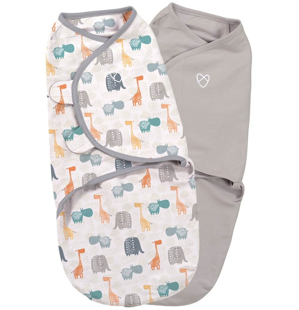 Summer Infant SwaddleMe zavinovačka 2ks zvířátka z džungle/šedá - Doprava zdarma velikost: S (3,2-6,4kg) od narození do cca 3 měsíců
