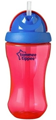 Tommee Tippee sportovní láhev s brčkem 12m+, 300ml barva: růžová