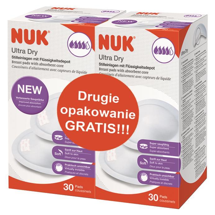 NUK Laktační ultrasavé prsní vložky Ultra Dry 30 ks - AKCE 1+1