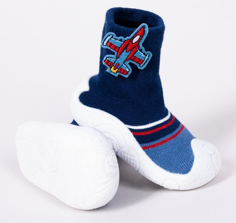 YO Ponožky s gumovou podrážkou - chlapecké velikost: 23 - modré-auta