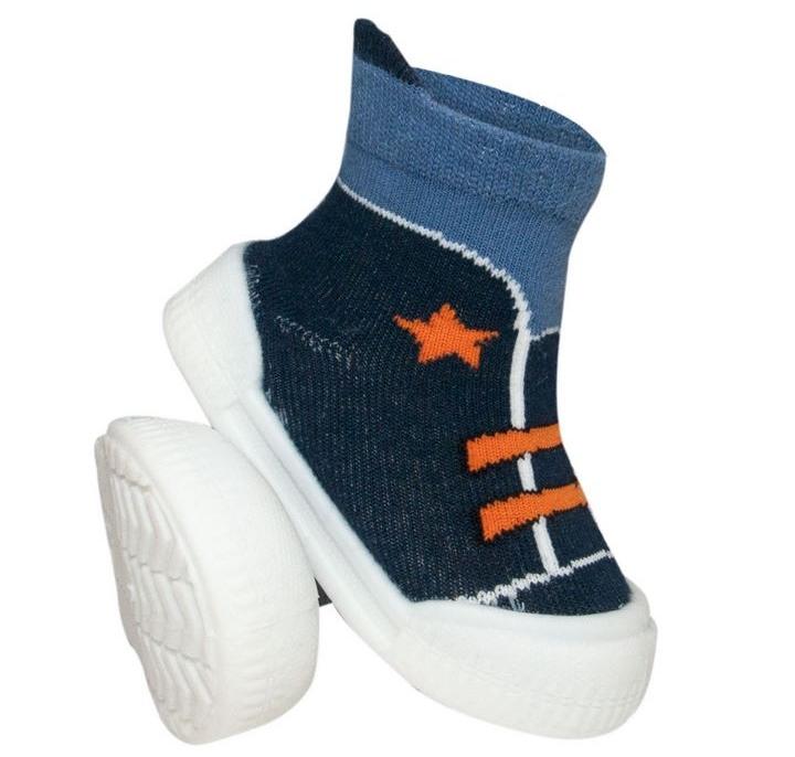 YO Ponožky s gumovou podrážkou froté - chlapecké velikost: 21, vzor: modré