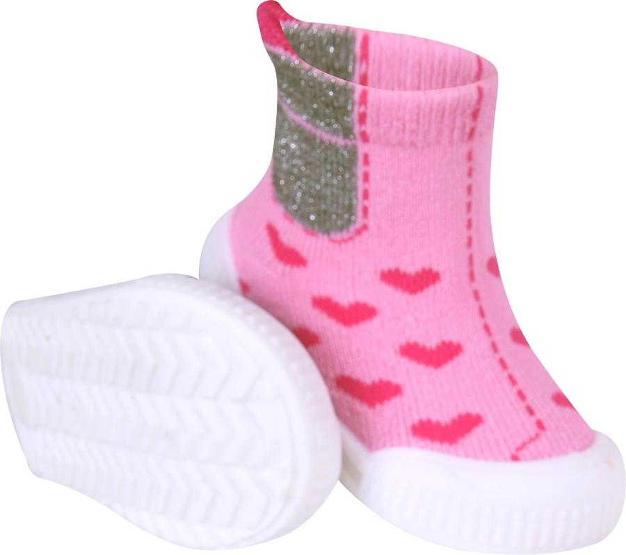 YO Ponožky s gumovou podrážkou froté - dívčí velikost: 23 - růžové
