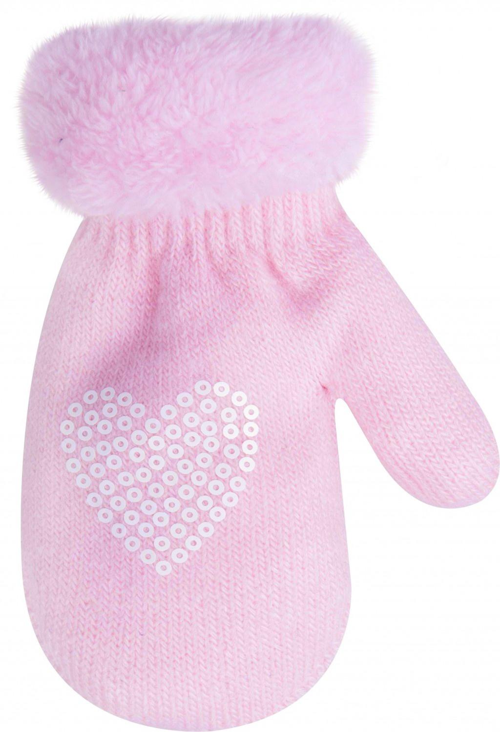 YO dětské zimní rukavice s kožešinkou a aplikací srdíčka - dívčí velikost: 12cm, vzor: růžové
