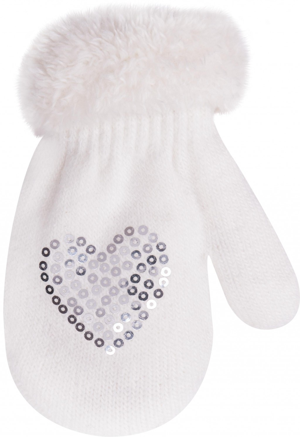 YO dětské zimní rukavice s kožešinkou a aplikací srdíčka - dívčí velikost: 12cm, vzor: smetanové