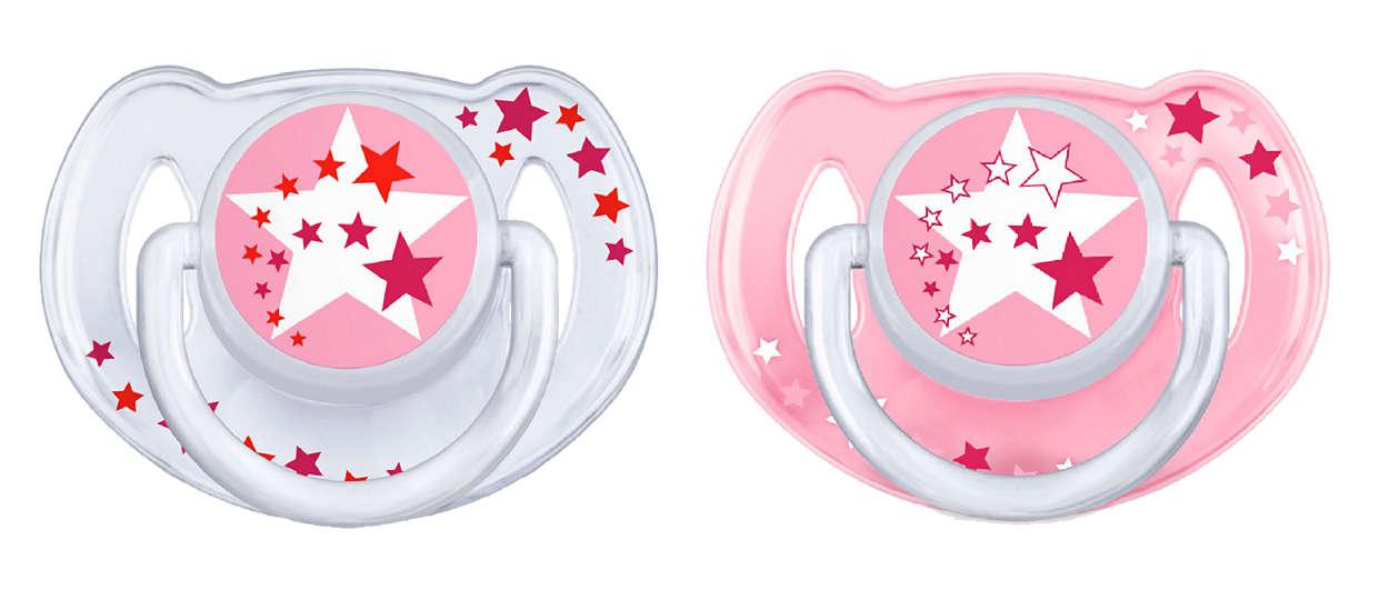 AVENT Šidítko Noční 6-18m.bez BPA 2ks barva: růžová