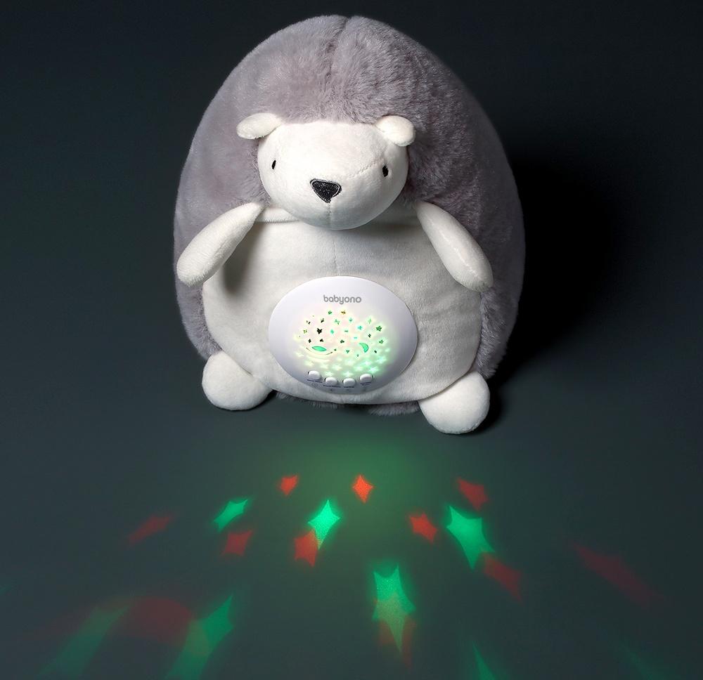 BabyOno Projektor s melodií - Ježek Hugo, šedý