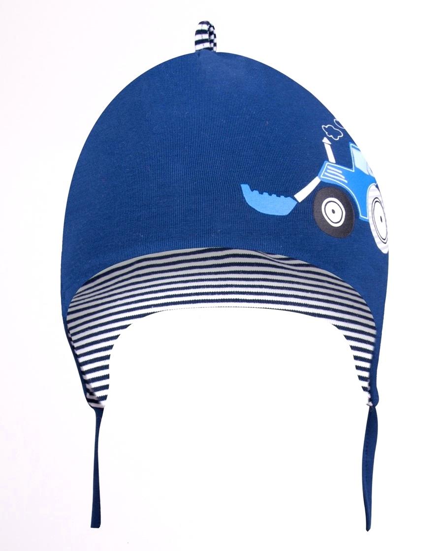 YO kojenecká čepička podzimní/jarní s traktorem, chlapecká, vel. 42-44 barva: modrá