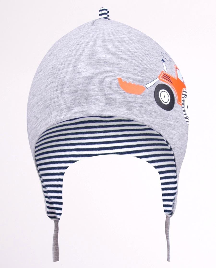 YO kojenecká čepička podzimní/jarní s traktorem, chlapecká, vel. 42-44 barva: šedá