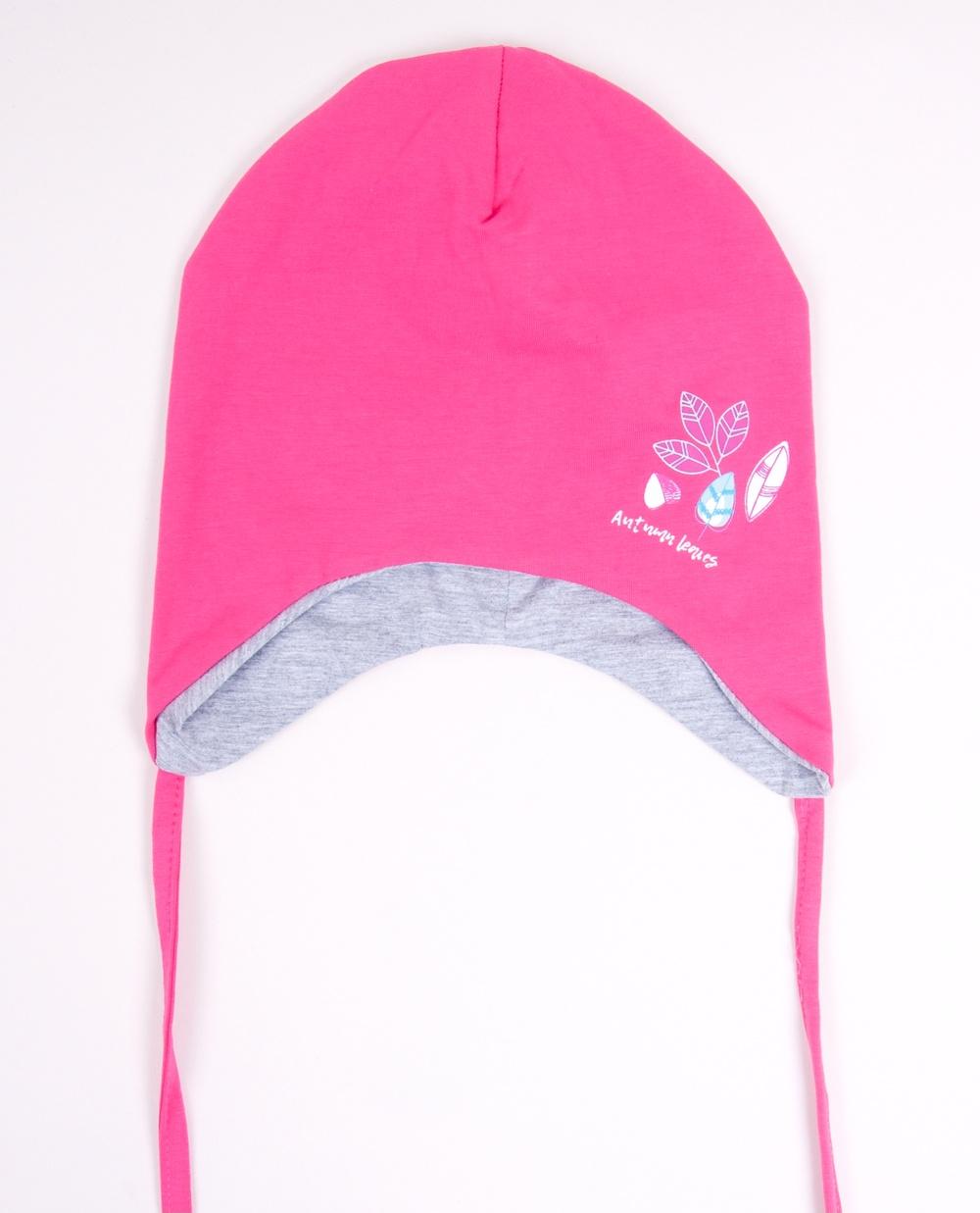 YO kojenecká čepička podzimní/jarní s lístečky- dívčí vel. 42-44 barva: růžová