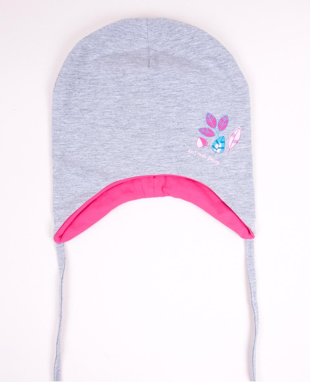 YO kojenecká čepička podzimní/jarní s lístečky- dívčí vel. 42-44 barva: šedá
