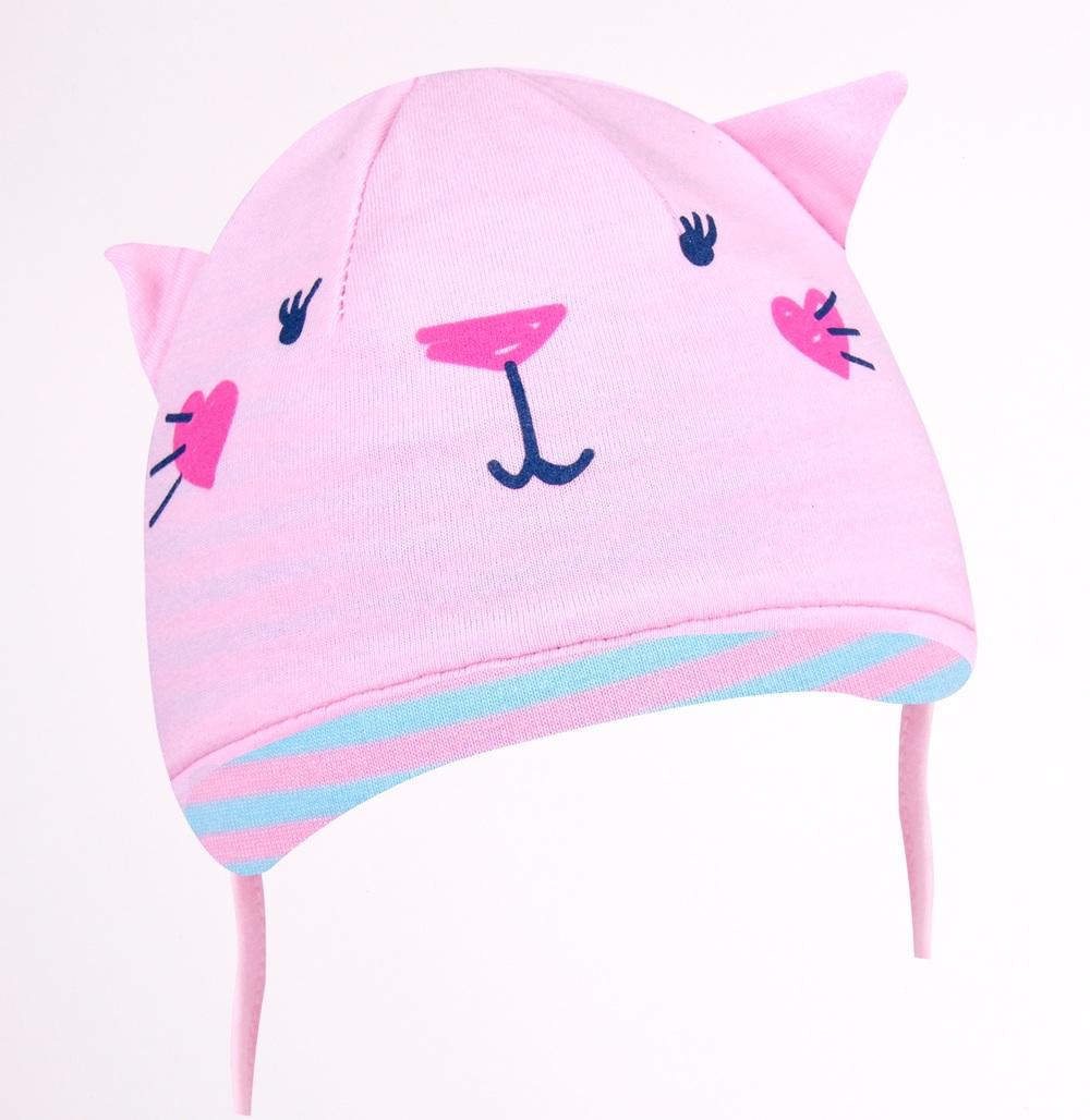 YO kojenecká čepička podzimní/jarní kočička s oušky- dívčí vel. 36-38 barva: světle růžová