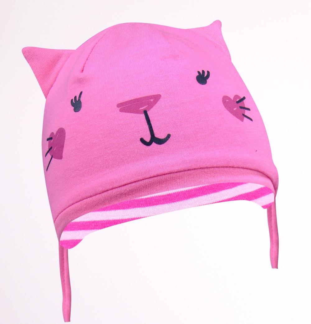 YO kojenecká čepička podzimní/jarní kočička s oušky- dívčí vel. 36-38 barva: tmavě růžová
