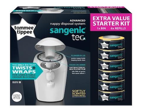 Tommee Tippee koš na pleny Sangenic Tec + 6 ks náhradní kazeta - výhodná sada barva: bílý