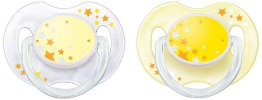 AVENT Šidítko Noční 0-6m.bez BPA 2ks barva: žlutá