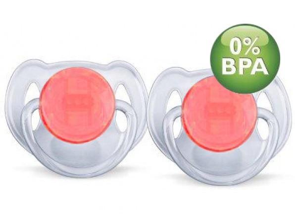 AVENT Šidítko Průhledné 6-18m.bez BPA 2ks barva: červené