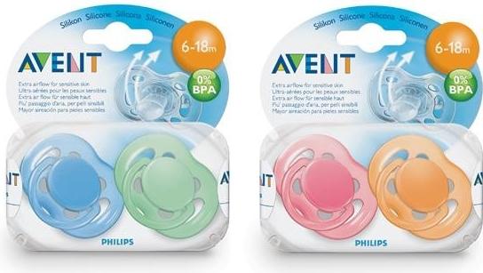 AVENT Šidítko Sensitive 6-18m.bez BPA 2ks barvy: růžová/oranžová