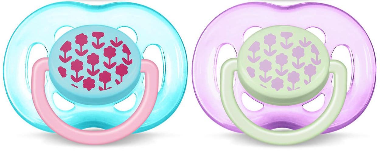 AVENT Šidítko Sensitive Obrázek 6-18m. bez BPA 2ks obrázek: kytičky