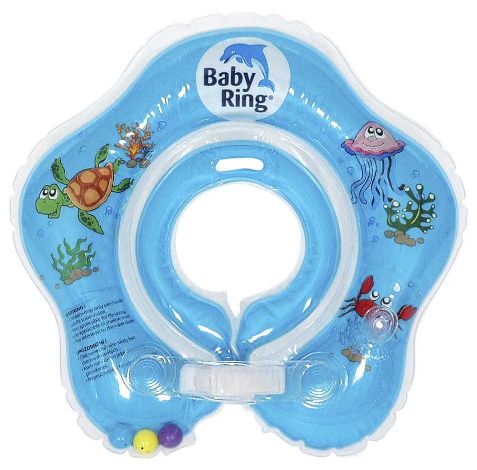 Baby Ring koupací kruh kolem krku - koupání miminek od narození barva: modrá, velikost: střední 3-36měs. (6-36kg)