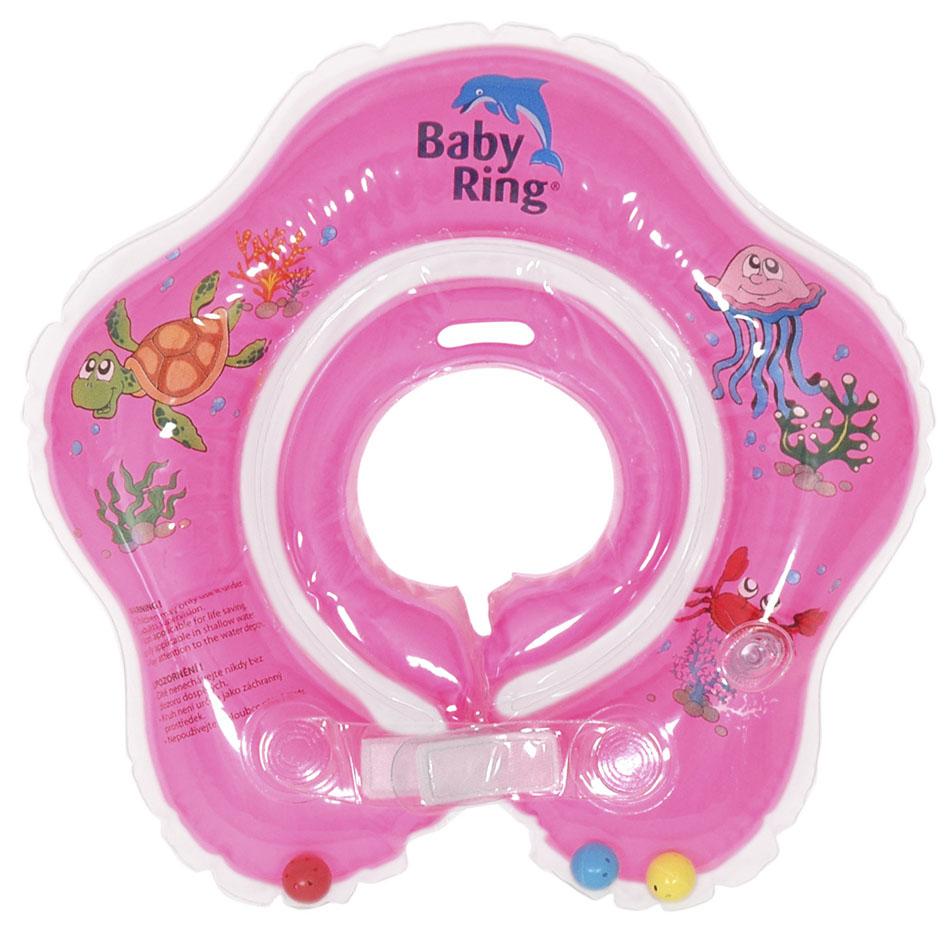 Baby Ring koupací kruh kolem krku - koupání miminek od narození barva: růžová, velikost: střední 3-36měs. (6-36kg)