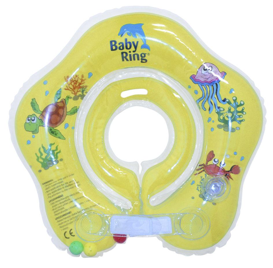 Baby Ring koupací kruh kolem krku - koupání miminek od narození barva: žlutá, velikost: malý 0-24 měs. (3-15kg)