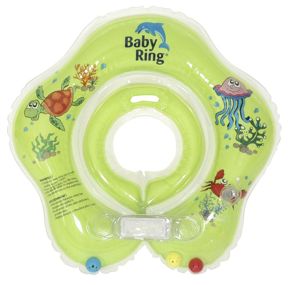 Baby Ring koupací kruh kolem krku - koupání miminek od narození barva: zelená, velikost: malý 0-24 měs. (3-15kg)