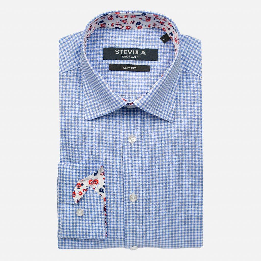 Kockovaná pánska košeľa s kontrastom, Slim fit