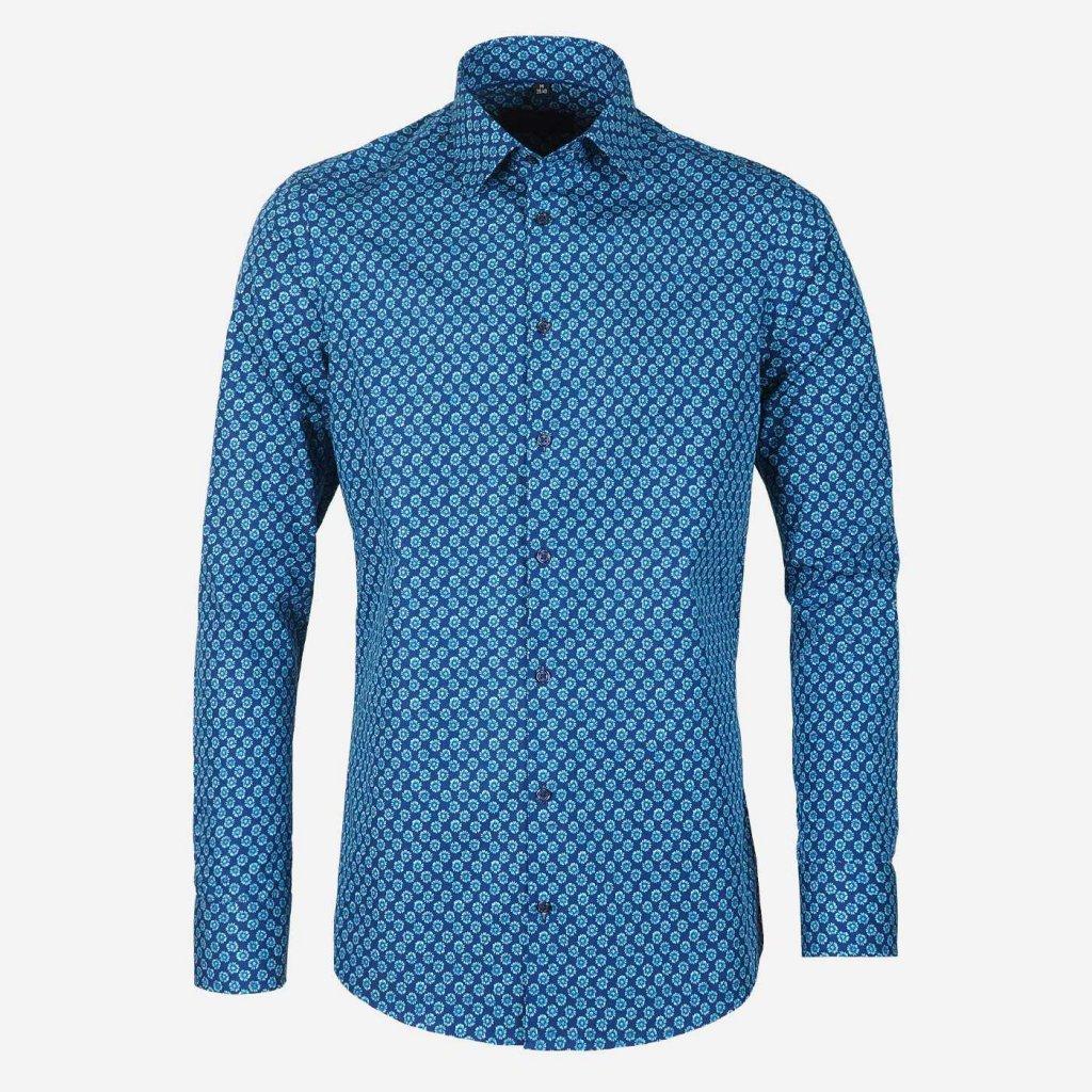 Tmavomodrá vzorovaná pánska košeľa, Slim fit