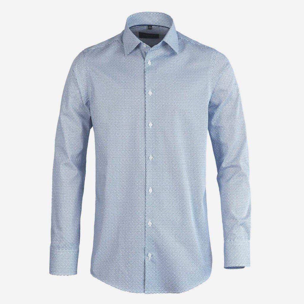 Modro-biela vzorovaná košeľa, Slim fit