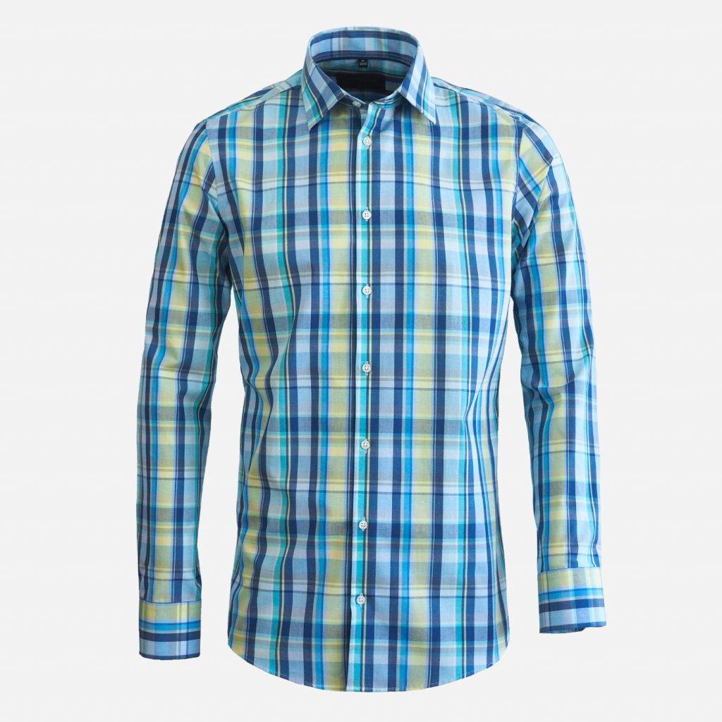 Letná károvaná pánska košeľa, Slim fit