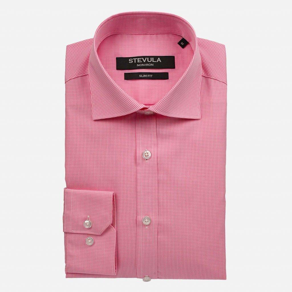 Ružová pánska košeľa z popelínu, Slim fit