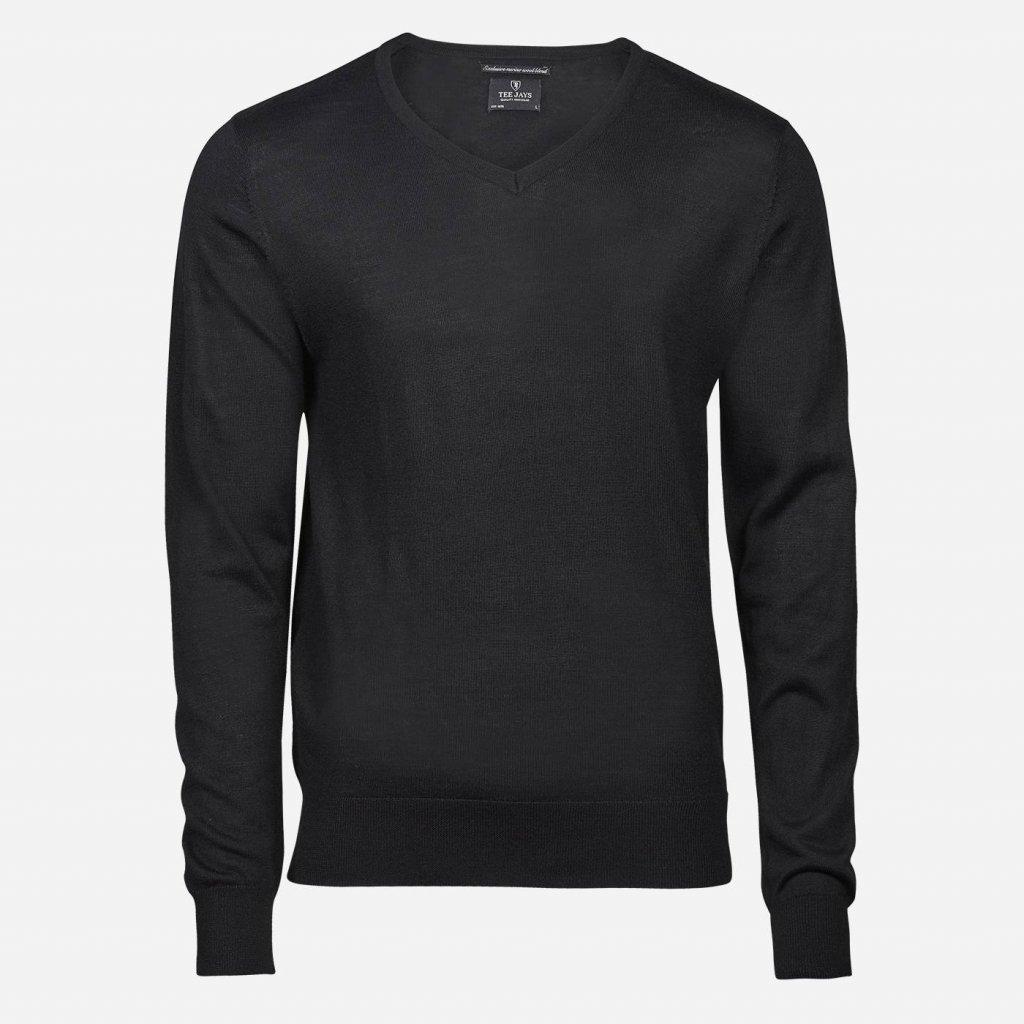 Čierny merino sveter, V výstrih