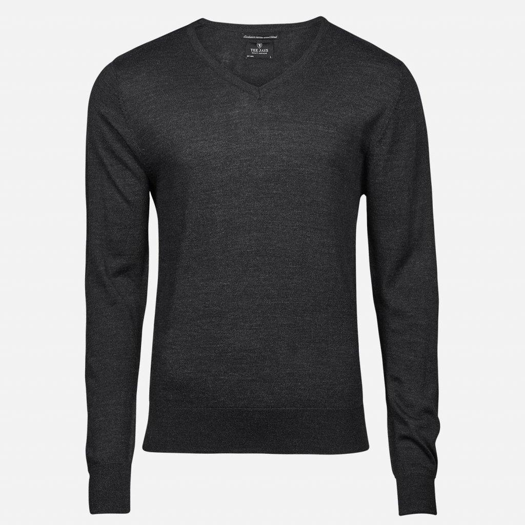 Tmavosivý merino sveter, V výstrih