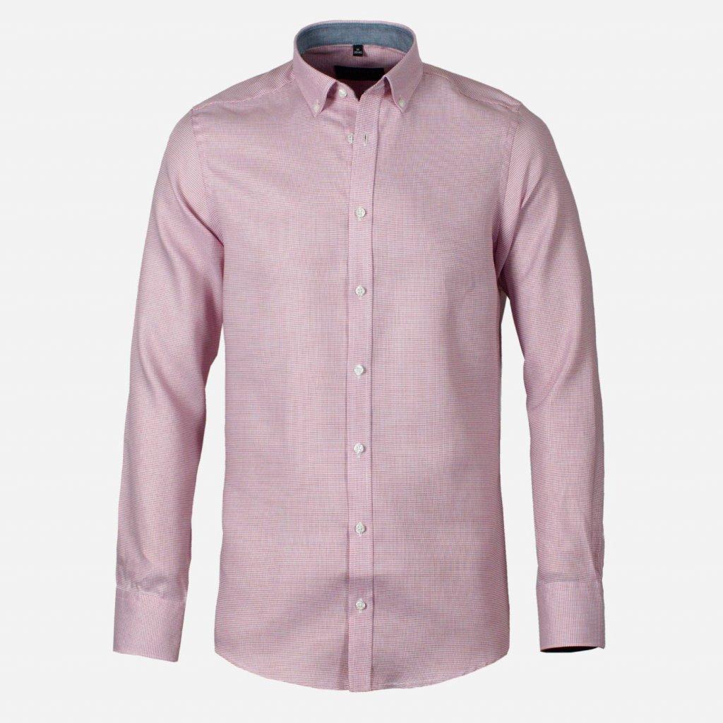 Červeno-biela vzorovaná košeľa, Slim fit