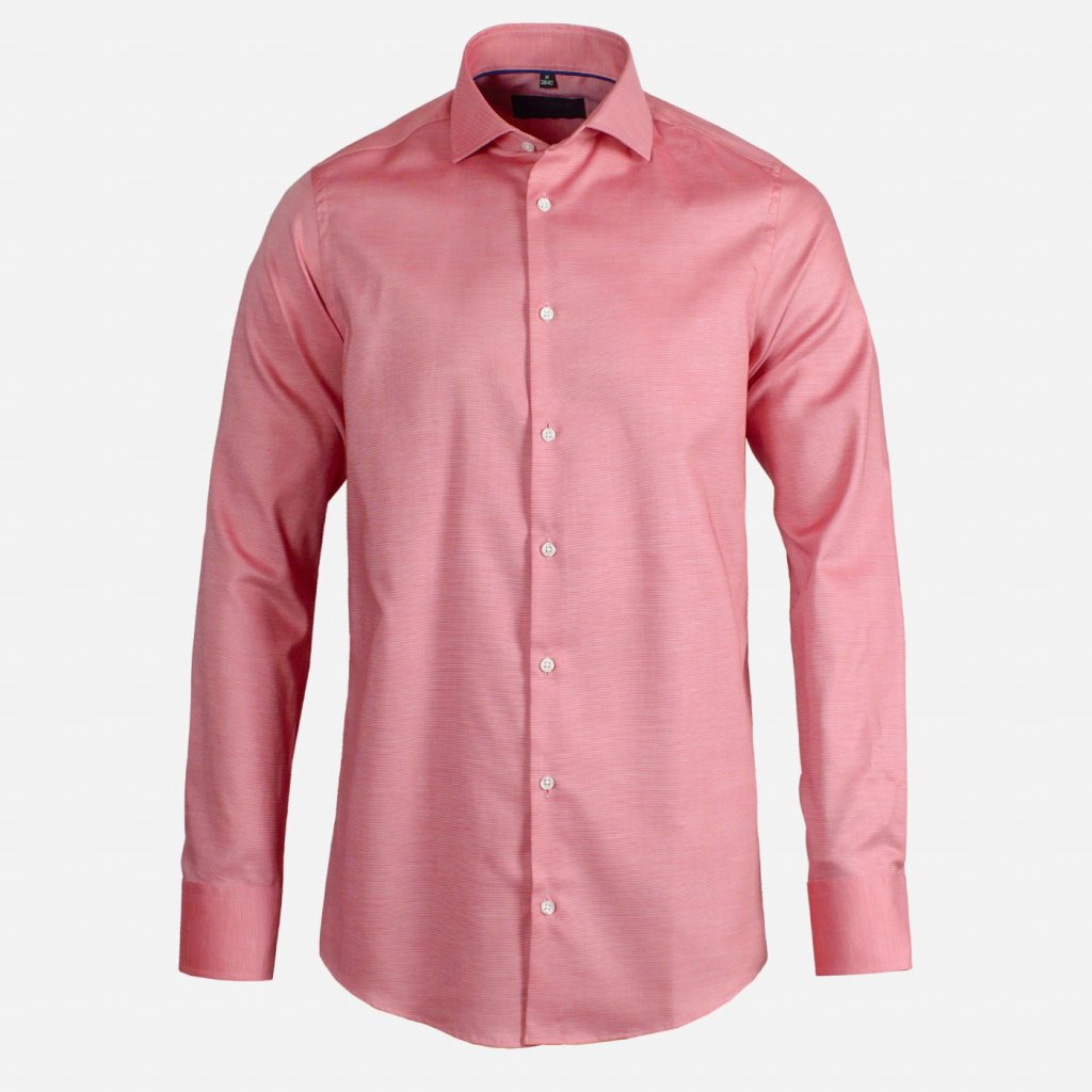 Červeno biela pánska košeľa s jemným vzorom